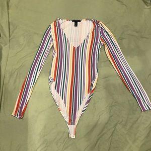 Forever 21 rainbow long sleeved bodysuit